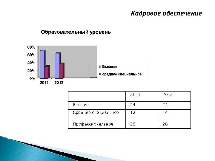Кадровое обеспечение 2011 2012 Высшее 24 24 Среднее специальное 12 14 Профессиональное 25 26