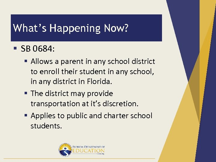 What's Happening Now? § SB 0684: § Allows a parent in any school district