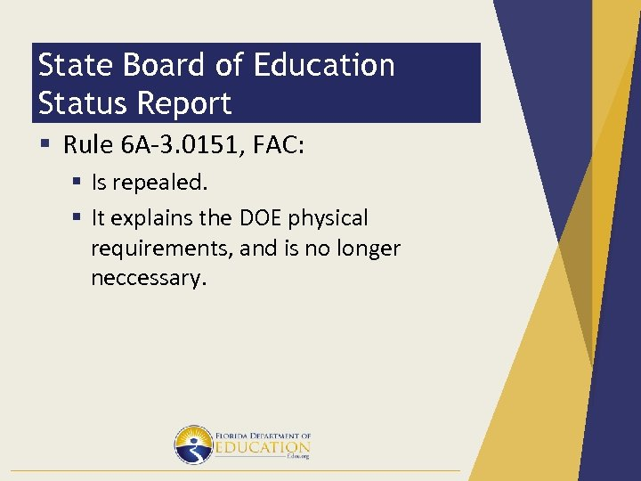 State Board of Education Status Report § Rule 6 A-3. 0151, FAC: § Is