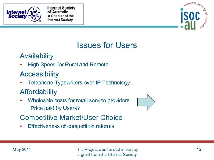 Issues for Users Availability • High Speed for Rural and Remote Accessibility • Telephone