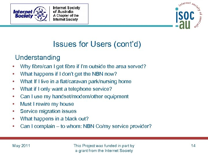Issues for Users (cont'd) Understanding • • • Why fibre/can I get fibre if