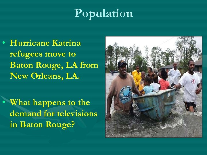 Population • Hurricane Katrina refugees move to Baton Rouge, LA from New Orleans, LA.