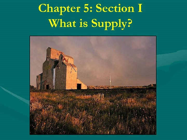 Chapter 5: Section I What is Supply?