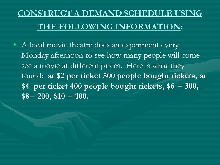 CONSTRUCT A DEMAND SCHEDULE USING THE FOLLOWING INFORMATION: • A local movie theatre does