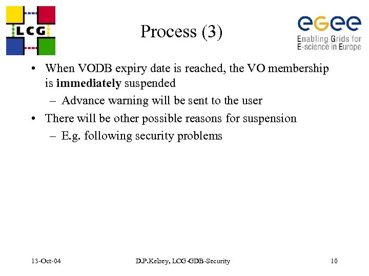 Process (3) • When VODB expiry date is reached, the VO membership is immediately