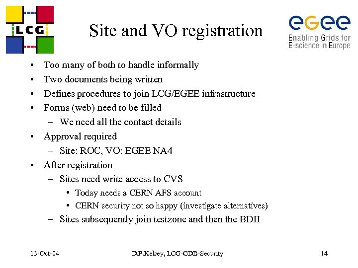 Site and VO registration • • Too many of both to handle informally Two