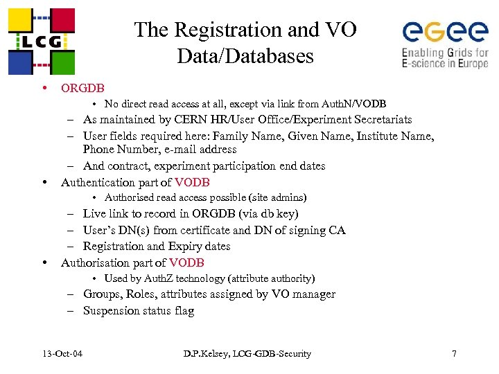 The Registration and VO Data/Databases • ORGDB • No direct read access at all,