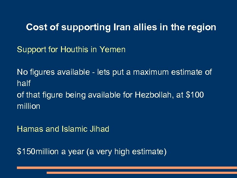 Cost of supporting Iran allies in the region Support for Houthis in Yemen No