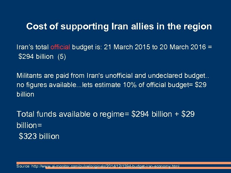 Cost of supporting Iran allies in the region Iran's total official budget is: 21