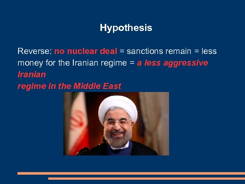 Hypothesis Reverse: no nuclear deal = sanctions remain = less money for the Iranian