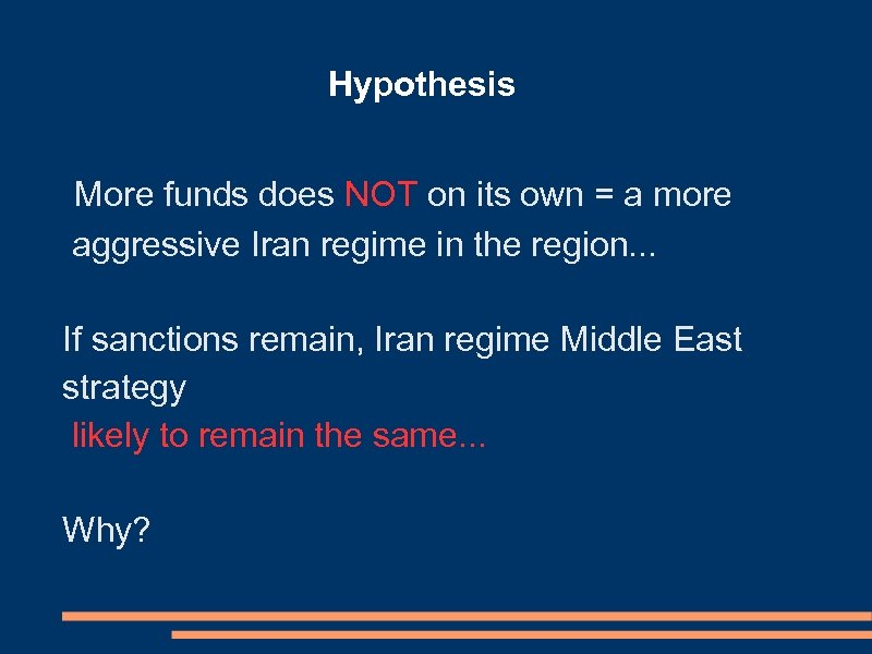 Hypothesis More funds does NOT on its own = a more aggressive Iran regime