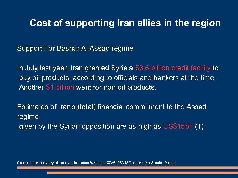 Cost of supporting Iran allies in the region Support For Bashar Al Assad regime