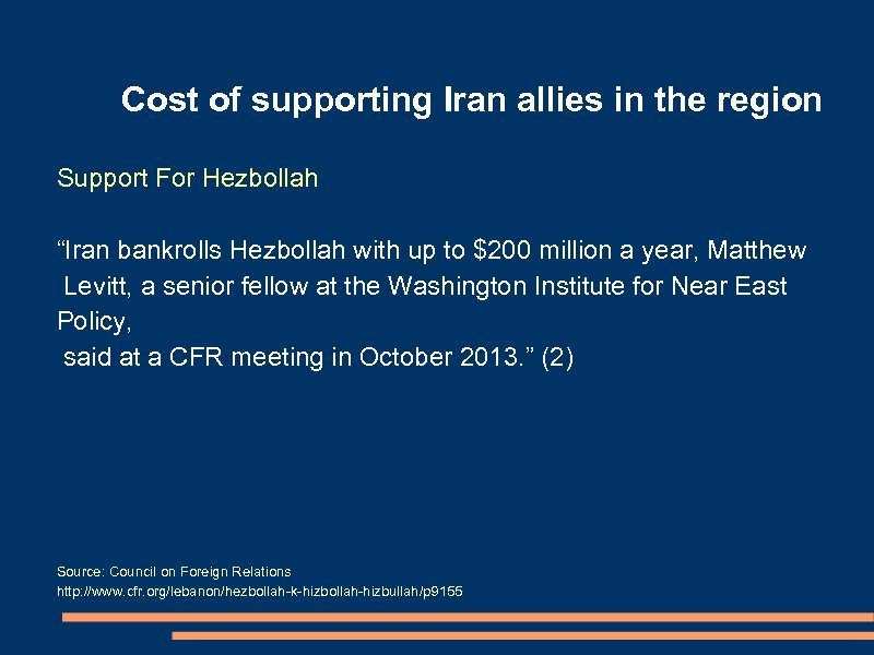 "Cost of supporting Iran allies in the region Support For Hezbollah ""Iran bankrolls Hezbollah"