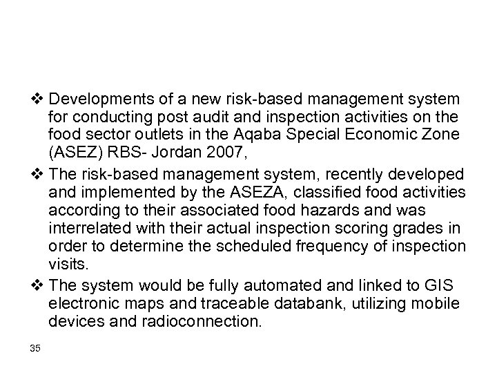 v Developments of a new risk-based management system for conducting post audit and inspection