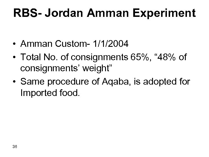 RBS- Jordan Amman Experiment • Amman Custom- 1/1/2004 • Total No. of consignments 65%,