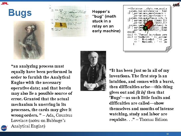 """Bugs """"an analyzing process must equally have been performed in order to furnish the"""