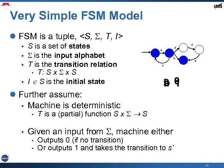 Very Simple FSM Model l FSM is a tuple, <S, , T, I> •