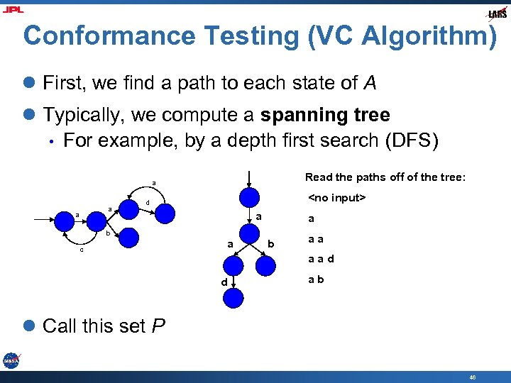 Conformance Testing (VC Algorithm) l First, we find a path to each state of