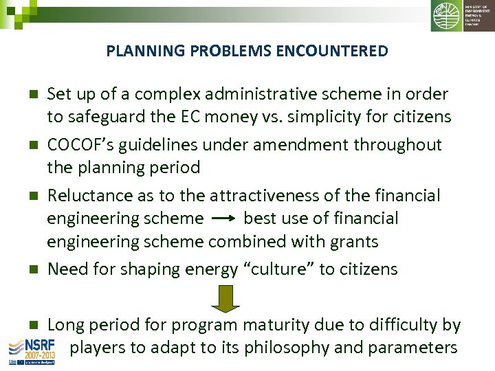 PLANNING PROBLEMS ENCOUNTERED n n n Set up of a complex administrative scheme in
