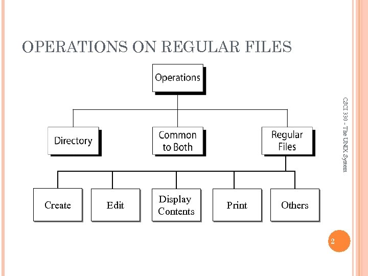 OPERATIONS ON REGULAR FILES CSCI 330 - The UNIX System Create Edit Display Contents