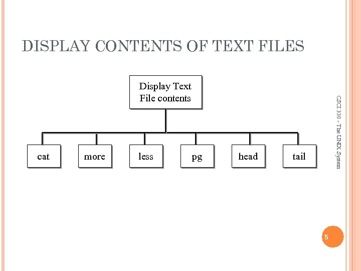 DISPLAY CONTENTS OF TEXT FILES cat more less pg head CSCI 330 - The