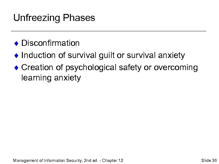 Unfreezing Phases ¨ Disconfirmation ¨ Induction of survival guilt or survival anxiety ¨ Creation