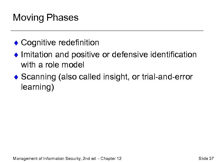 Moving Phases ¨ Cognitive redefinition ¨ Imitation and positive or defensive identification with a