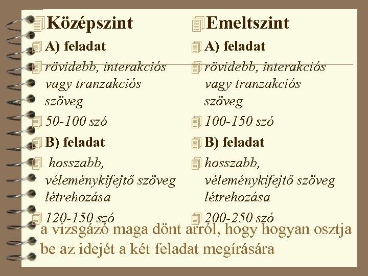 4 Középszint 4 Emeltszint 4 A) feladat 4 rövidebb, interakciós vagy tranzakciós szöveg 4