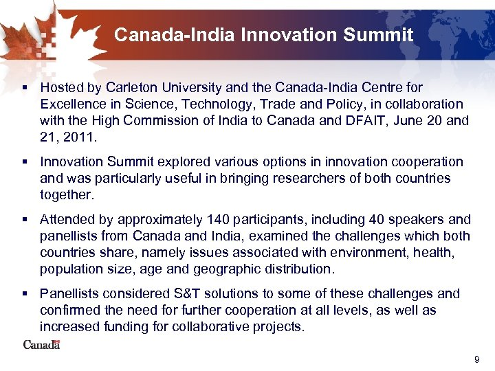 Canada-India Innovation Summit § Hosted by Carleton University and the Canada-India Centre for Excellence