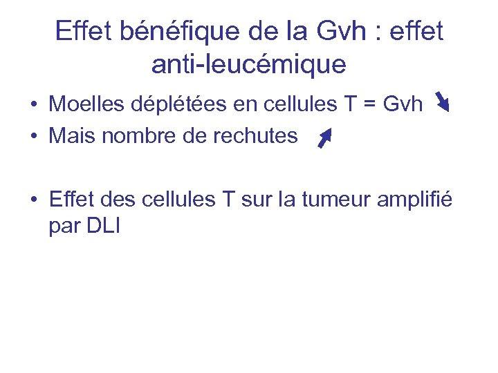 Effet bénéfique de la Gvh : effet anti-leucémique • Moelles déplétées en cellules T