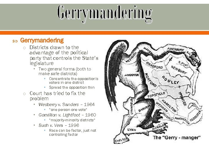 Gerrymandering o Districts drawn to the advantage of the political party that controls the
