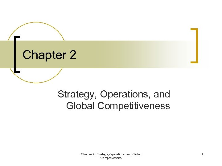 Chapter 2 Strategy, Operations, and Global Competitiveness Chapter 2: Strategy, Operations, and Global Competivevess