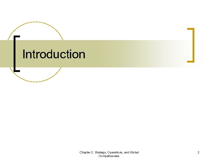 Introduction Chapter 2: Strategy, Operations, and Global Competivevess 2