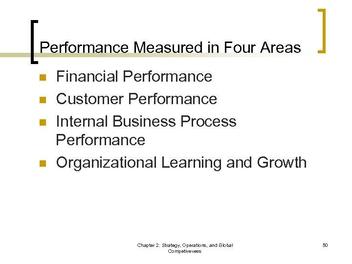 Performance Measured in Four Areas n n Financial Performance Customer Performance Internal Business Process