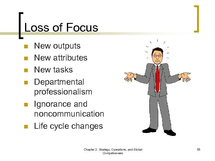 Loss of Focus n n n New outputs New attributes New tasks Departmental professionalism