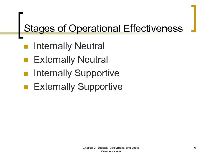 Stages of Operational Effectiveness n n Internally Neutral Externally Neutral Internally Supportive Externally Supportive