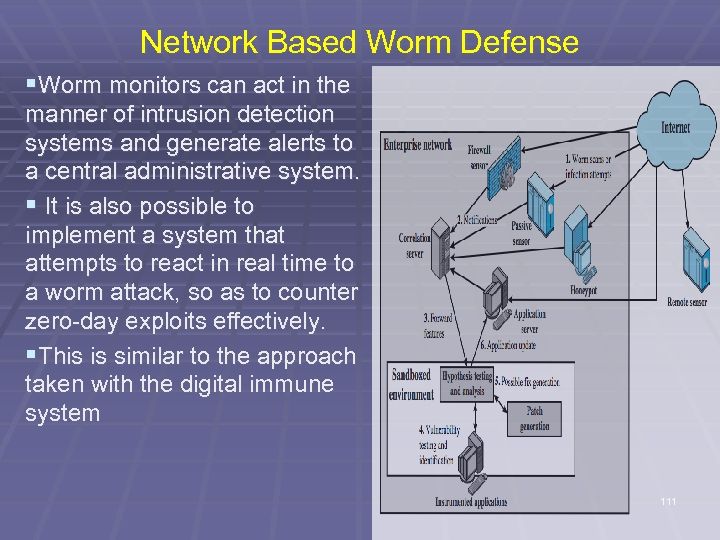 Network Based Worm Defense §Worm monitors can act in the manner of intrusion detection