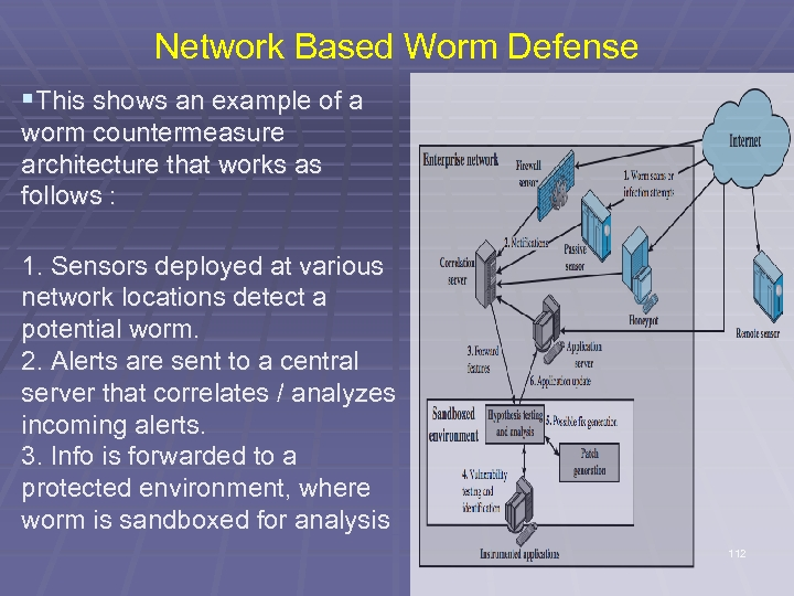Network Based Worm Defense §This shows an example of a worm countermeasure architecture that
