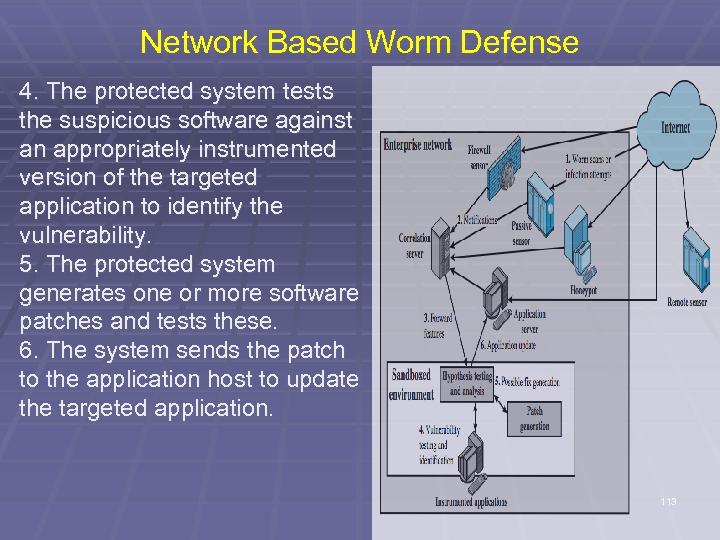 Network Based Worm Defense 4. The protected system tests the suspicious software against an