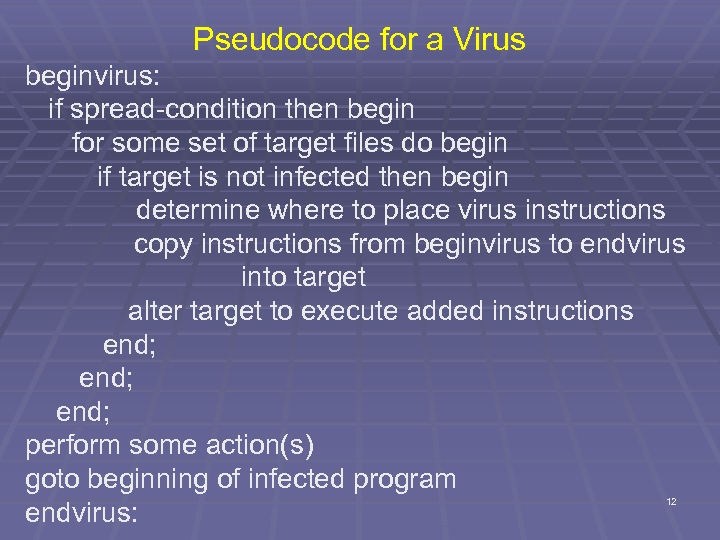 Pseudocode for a Virus beginvirus: if spread-condition then begin for some set of target