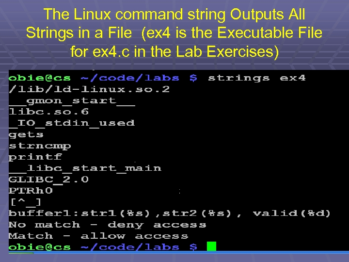 The Linux command string Outputs All Strings in a File (ex 4 is the