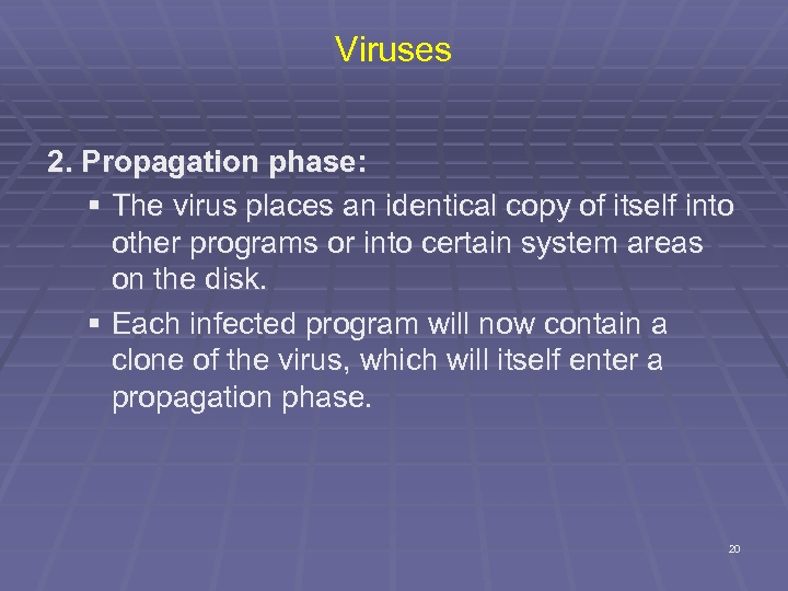 Viruses 2. Propagation phase: § The virus places an identical copy of itself into