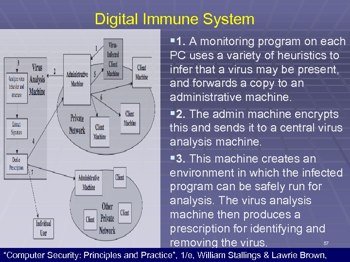 Digital Immune System § 1. A monitoring program on each PC uses a variety