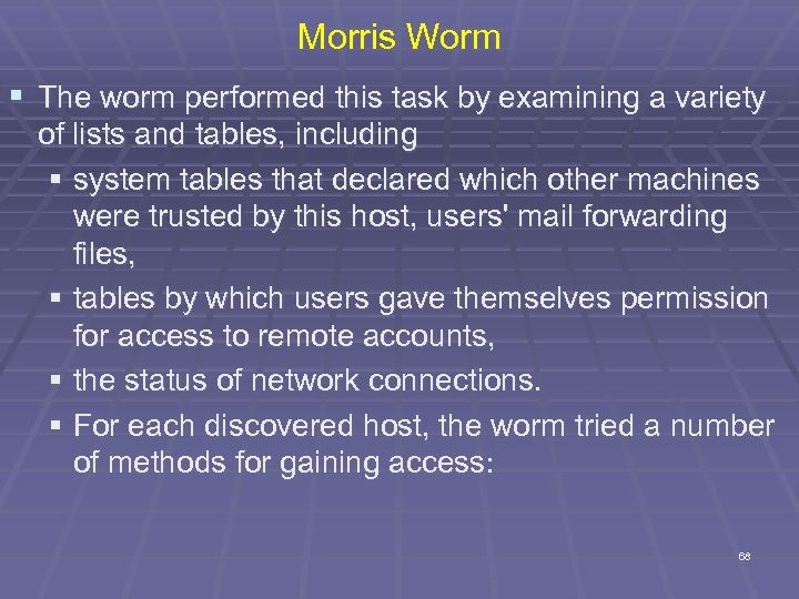 Morris Worm § The worm performed this task by examining a variety of lists