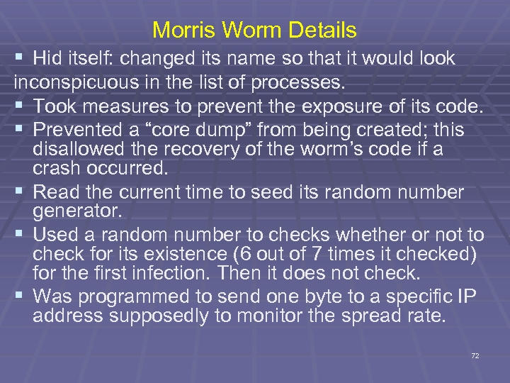 Morris Worm Details § Hid itself: changed its name so that it would look