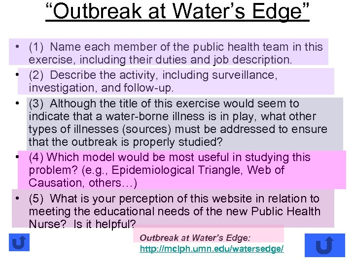 """""""Outbreak at Water's Edge"""" • (1) Name each member of the public health team"""