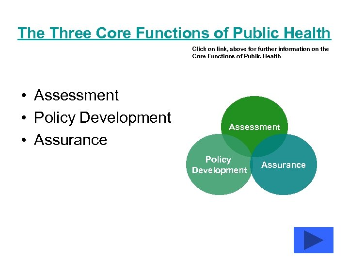The Three Core Functions of Public Health Click on link, above for further information