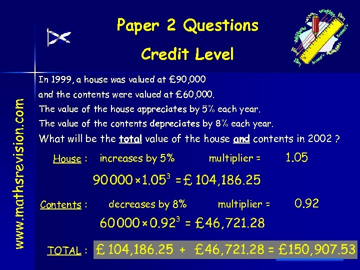 Paper 2 Questions Credit Level www. mathsrevision. com In 1999, a house was valued
