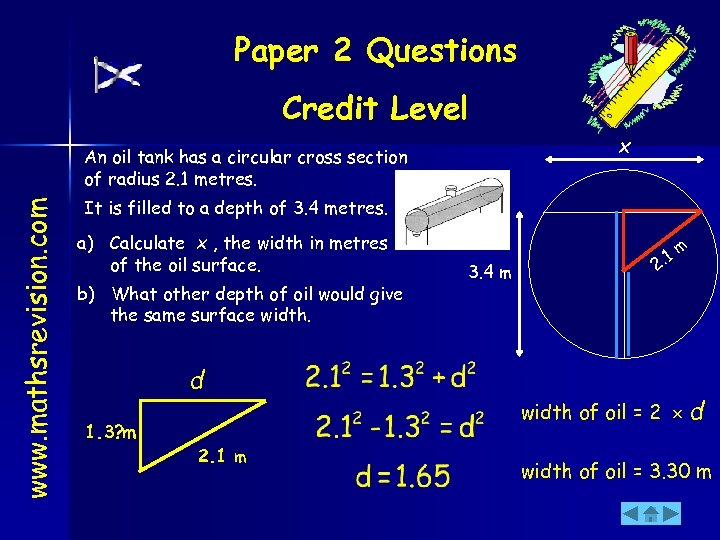 Paper 2 Questions Credit Level x www. mathsrevision. com An oil tank has a
