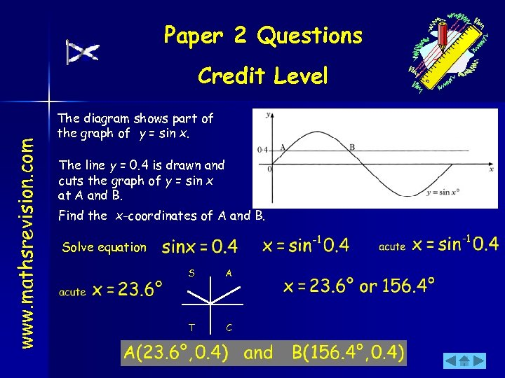 Paper 2 Questions www. mathsrevision. com Credit Level The diagram shows part of the